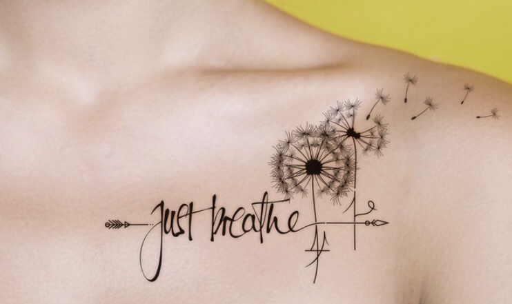 Just Breathe Tattoo With Dandelion